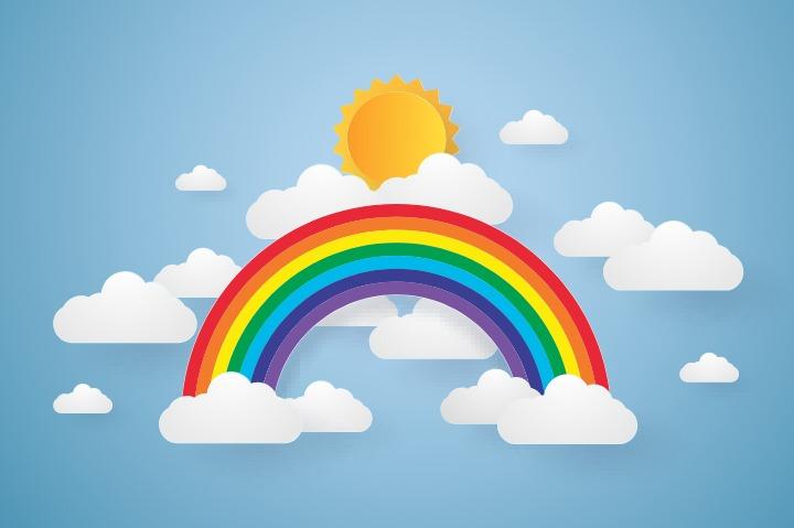 cartoon rainbow, sun and clouds